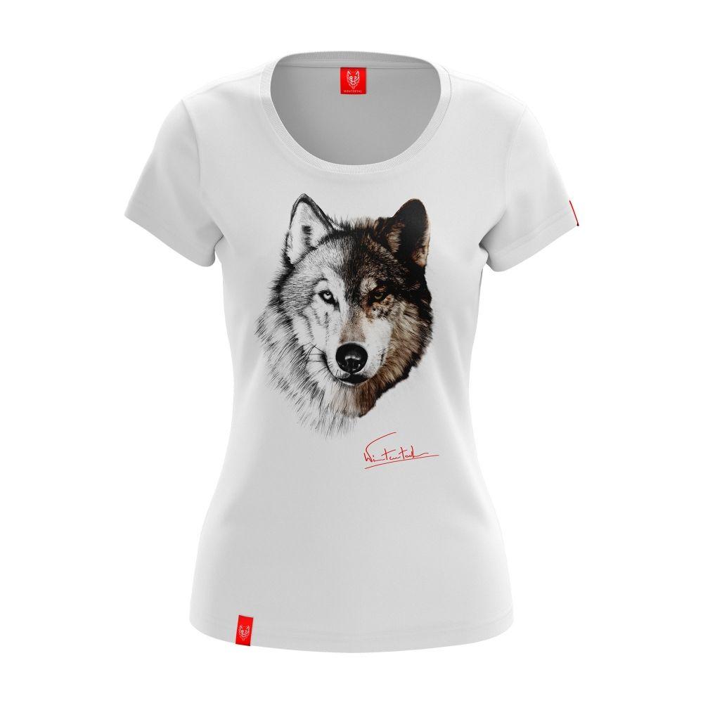 WOLF   Koszulka damska szkicowana wolnością w