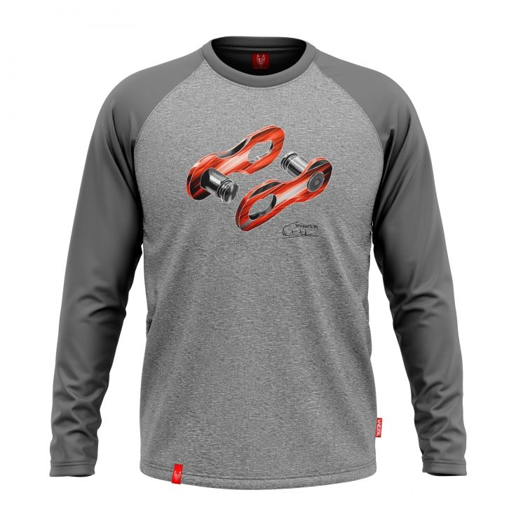 LINK GRAY LONG SLEEVE | Men's cycling t-shirt with a clip.