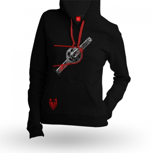"Bike Hoodie ""CHAIN RED"" Woman"